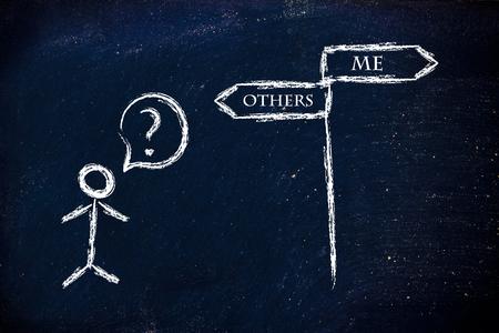 altruism: diseño del humor metáfora en la pizarra, me vs otros