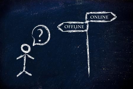 metaphor humour design on blackboard, online vs offline