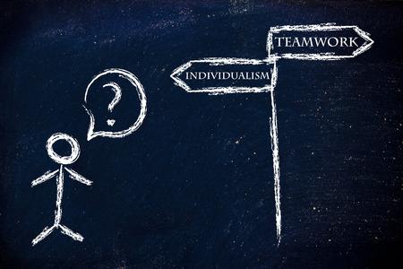 individualism: metaphor humour design on blackboard, teamwork or individualism Stock Photo