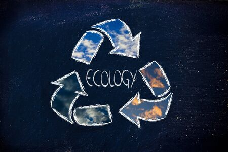symbol of recycling to represent ecology and the green economy boom photo