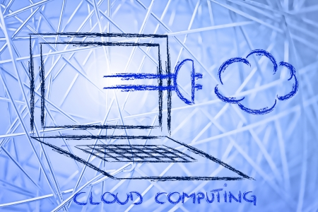 conceptual design of internet, cloud computing and connectivity photo