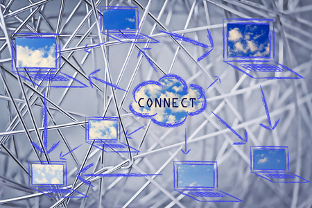 conceptual design about internet, cloud compting and connecting people photo