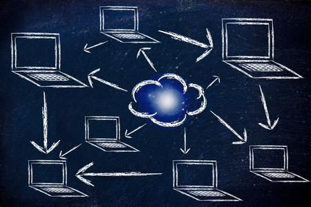 conceptual design about internet, cloud compting and connecting people Stock Photo - 22955632