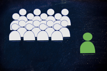 individualism: metaphor of individualist person, manager or leader Stock Photo