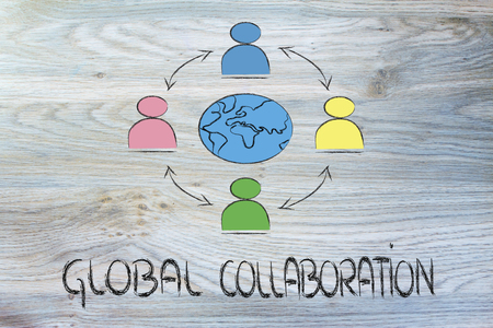 people interacting across the world, metaphor of global business communications, networks and collaboration photo