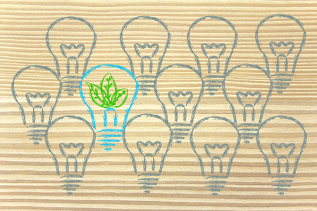 new ideas for green economy, leaves inside lightbulb as metaphor