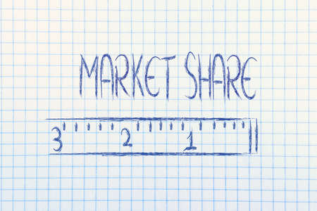 humour design of a ruler measuring market share photo
