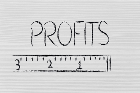 humour design of a ruler measuring profits photo