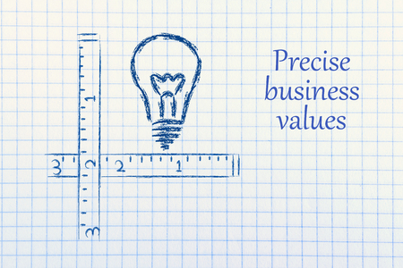 cm: conceptual design about the need of precise and well defined business values Stock Photo