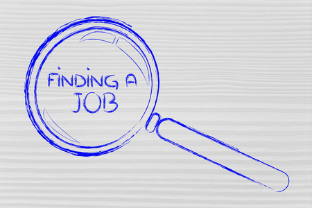 magnifying glass seeking for job offers photo