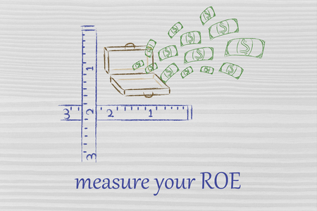 metaphor of measuring success, money exploding out of suitcase with rulers photo