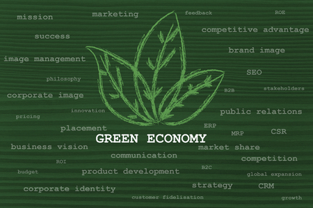 aspects: the influence of green economy taking over many aspects of business Stock Photo