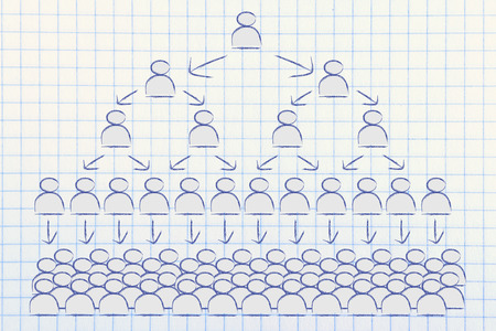 individualism: visual representation of hierarchy and rigid structures in company management Stock Photo