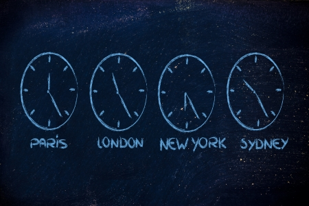 time zone & clocks representing the role of time management in a global business photo