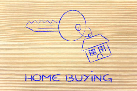 keys with house keyring, concept of buying or selling home photo