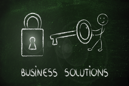 conceptual design about how to find the best business solution Stock Photo