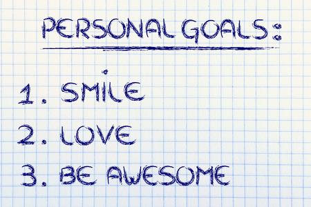 liste de motivation pour le bonheur d'atteindre: sourire, l'amour et génial