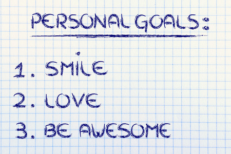 motivational list for reaching happiness: smile, love and be awesome