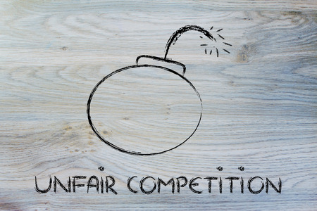 business survival: dangerous unfair competition threatening business survival, bomb metaphor Stock Photo