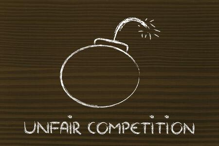 unfair: dangerous unfair competition threatening business survival, bomb metaphor Stock Photo