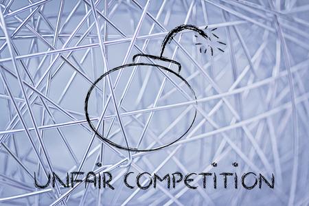 survival: dangerous unfair competition threatening business survival, bomb metaphor Stock Photo