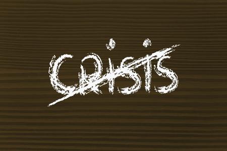 """tachado: la palabra """"crisis"""" con tachado, final de la crisis y el nuevo crecimiento"""