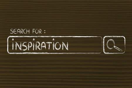 search for inspiration, design of internet search bar on unusual surface