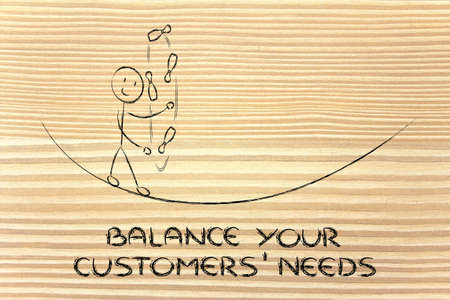 expectations: concept of dealing with customers needs and expectations: funny character juggling