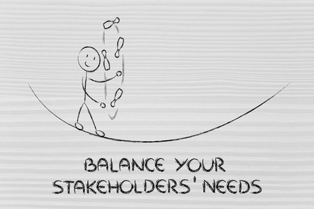 stakeholders: concept of dealing with stakeholders needs: funny character juggling