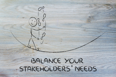 concept of dealing with stakeholders needs: funny character juggling