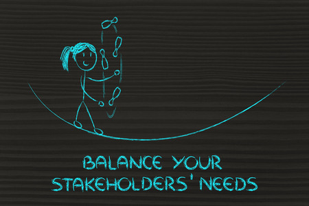 concept of dealing with stakeholders needs: funny girl juggling Stock Photo
