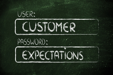 public sector: user and password: concept of how a customer represents a set of expectations Stock Photo