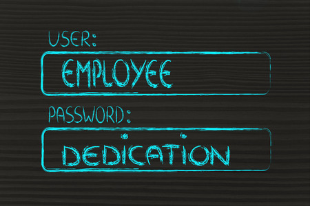 dedication: user and password: concept of how an employee needs dedication Stock Photo