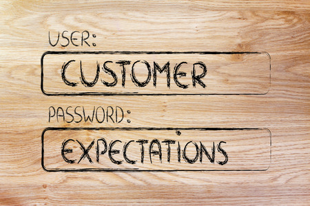 represents: user and password: concept of how a customer represents a set of expectations Stock Photo