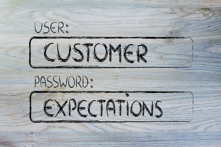 user and password: concept of how a customer represents a set of expectations Stock Photo