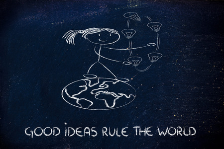 innovation and good ideas rule the world, girl walking on the world juggling ideas photo