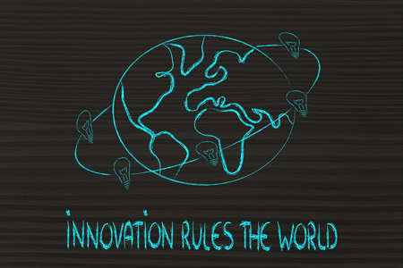 innovation and good ideas rule the world, lightbulbs revolving around the earth photo