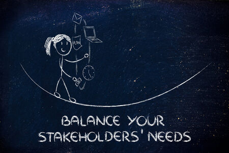 concept of dealing with stakeholders needs and expectations: girl juggling with office tools