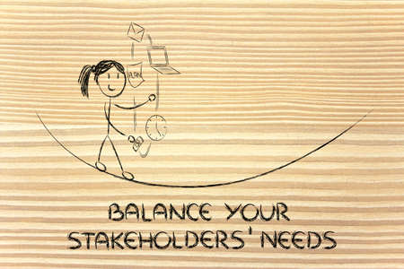 stakeholders: concept of dealing with stakeholders needs and expectations: girl juggling with office tools