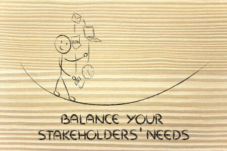 stakeholders: concept of dealing with stakeholders needs and expectations: juggling with office tools