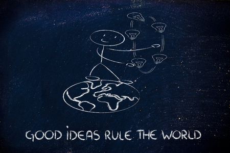 innovation and good ideas rule the world, man walking on the world juggling ideas photo