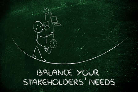 concept of dealing with stakeholders needs and expectations: juggling with office tools