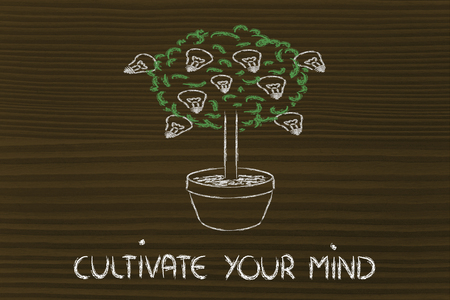 mentality: tree with lightbulbs growing as fruits: concept of growing your potential