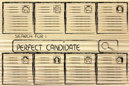cv: Selezione CV e barra di ricerca, riprende di persone diverse