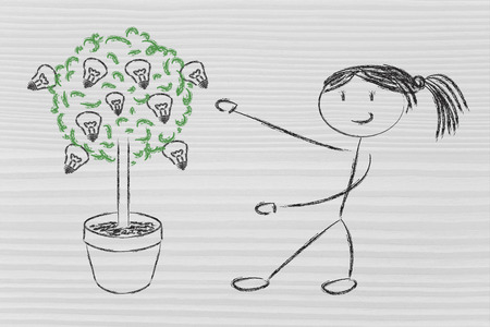 girl and tree with lightbulbs: concept of growing your potential