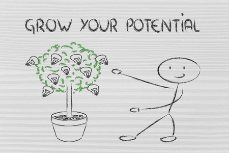 mentality: man and tree with lightbulbs: concept of growing your potential