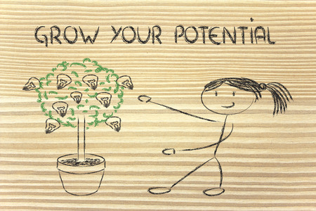 mentality: girl and tree with lightbulbs: concept of growing your potential