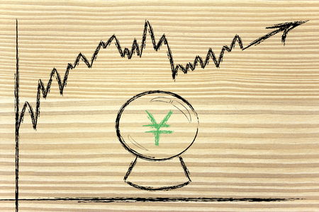and guessing: crystal ball and yen exchange rate, metaphor of guessing future rates Stock Photo