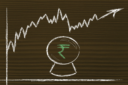 and guessing: crystal ball and rupee exchange rate, metaphor of guessing future rates