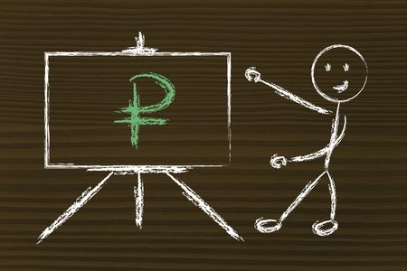 blackboard with ruble, russian currency symbol photo